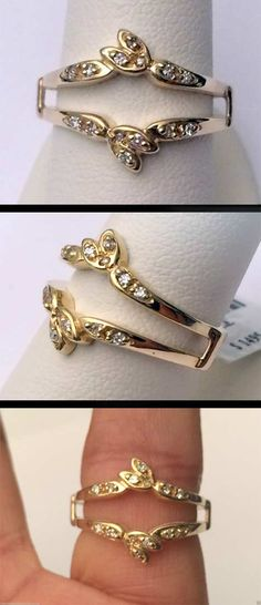 14kt Yellow Gold Wrap Guard Solitaire Enhancer Round Diamonds Ring Jacket