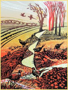 Pheasants Gathering - Linocut by Rob Barnes