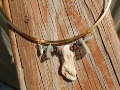 Sea Glass Stone and Earth Tone Stone Bead Slide with by Deesshoppe, $16.00