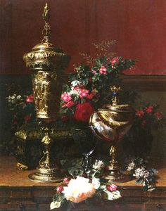 """Jean-Baptiste Robie  (1821-1910) A Still Life With A German Cup, A Nautilus Cup, A Goblet An Cut Flowers On A Table Oil on panel 1864 77.2 x 60.3 cm (30¼"""" x 23½"""") Private collection"""