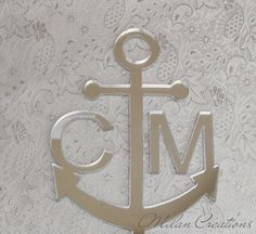Monogram Anchor Cake Topper for Nautical Wedding by MilanCreations, $22.00