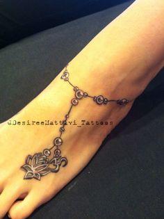 Anklet jewelry tattoo by Desiree Mattivi at Old Larimer Street Tattoo in Denver, Co. Instagram @DesireeMattivi_Tattoos