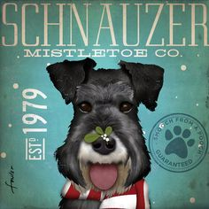 Schnauzer mistletoe company original illustration by geministudio