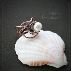 Медное кольцо с жемчугом