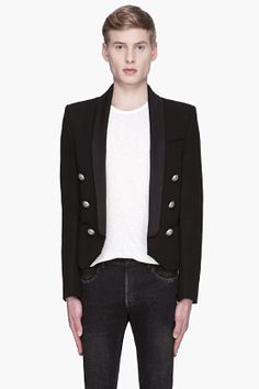 Balmain Black Shawl Collar Open Blazer for men | SSENSE