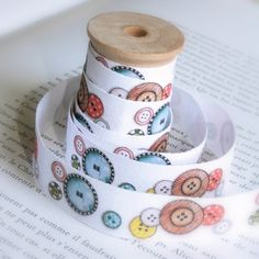 Buttons Cotton Tape by lillalotta on Etsy, $4.95