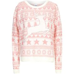 Pink and White Prancing Reindeer Fairisle Christmas Jumper ($10) ❤ liked on Polyvore featuring tops, sweaters, shirts, long sleeves, jumpers, christmas jumpers, pattern shirts, xmas sweaters, patterned sweaters and christmas sweaters
