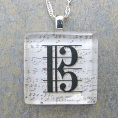 Alto clef necklace