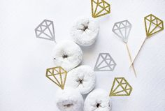 12 Silver & Gold Diamond Cupcake Toppers // Diamond Cupcake Topper // Wedding Decor // Engagement Party Decor // Engagement Party // Gold