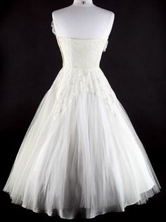 50s White Lace Tulle Fan Party Wedding Dress