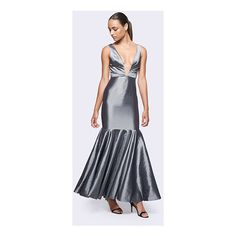 Gunmetal Grey Moroccan Dream Dress ($249) ❤ liked on Polyvore featuring dresses, gunmetal, v-neckmermaid, red carpet prom dresses, formal dresses, grey cocktail dress, grey formal dresses and grey prom dresses