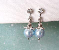 Pearl Clip-On Simple Pearl Drop Earrings Gifts by GlitzAndLove
