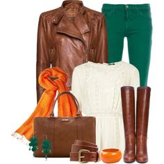 Green, camel and orange...colors of fall!