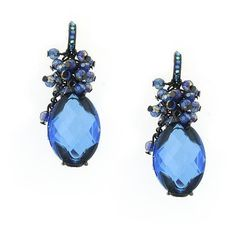 Blueberry Cluster Multifaceted Oval Drop Earrings ($21) found on Polyvore