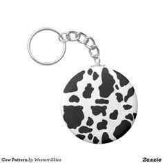 Cow Pattern Basic Round Button Keychain