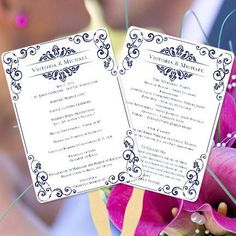 Wedding Program Fan Julia Navy Blue