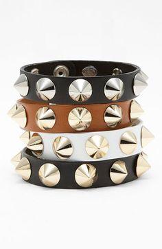 Cara Accessories Studded Leather Bracelet | Nordstrom