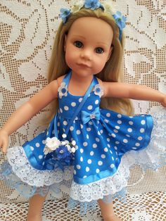 SalStuff, Blue Polka Dot Flower Girl Dress, Floral Bouquet Gotz Designafriend