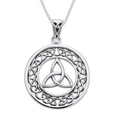 Jewelry Trends Collection Jewelry Trends Sterling Silver Celtic Border Trinity Knot Round Pendant on 18 inch Chain Necklace Silver Pendants, Sterling Silver Necklaces, White Pendants, Celtic Border, Celtic Knot Necklace, White Necklace, Locket Necklace, Necklace Charm, Pendant Necklace
