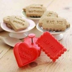 Heart/Rectangle Cookie/Biscuit Cutter/Stamp.Eat Me/Birthday/Home Made/With Love