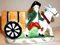 Vintage Planter Horse Wagon Colonial Man Hand Painted Ceramic Japan Rare
