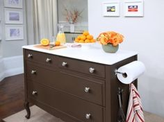 Dresser repurposed into kitchen island by della would work for a microwave free standing base, love the paper towel on the end, the drawers could hold utensils, microwave bowls, etc.