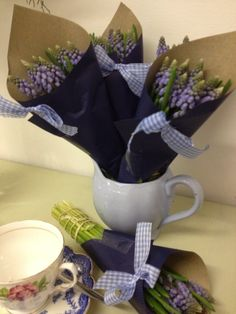 Flowers by Jan Park at Blue - all wrapped up and ready to go.  So cute too.