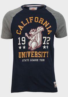 New Mens Brave Soul T-Shirt size L Graphic 100% Cotton Short Sleeve Colour Blue