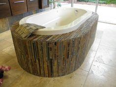 slate Earthy Bathroom, Corner Bathtub, Slate