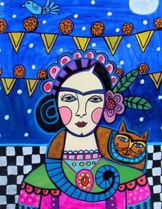 ORIGINAL PAINTING  11x14 Frida Kahlo Ginger by HeatherGallerArt, $250.00