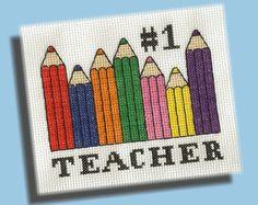 Back To School Cross Stitch Pattern Number One by KittyCrackernuts, $3.50