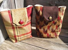 Sangria red, caramel, chocolate brown, and did I mention red? Our upholstery fabric bags are a modern and chic alternative to paper wrapping - and they are small enough to work into your home decor, as well.    http://www.etsy.com/listing/82850713/gift-bags-reusable-sangria-red-caramel