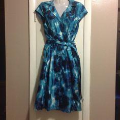 Blue Dress Lined. Pleated. Has a belt. No trades. Kasper Dresses