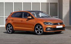 Lataa kuva Volkswagen Polo, Mk6, 2018 autoja, R-Line, oranssi polo, saksan autoja, VW Polo, Volkswagen, VW