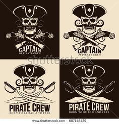Pirate emblems with a skull in a cocked hat in a retro style. Vintage jolly roger. Vector illustration.