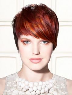 Red Highlights Hair Color Short Hair Style