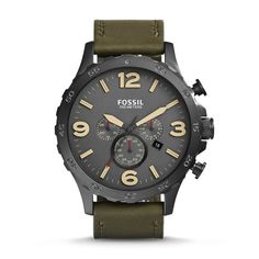 JR1476 - Nate Chronograph Leather Watch - Olive
