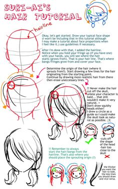 Anime Hair Tutorial by ~suri-ai on deviantART, how to draw anime hair, cute, kawaii anime people , hairstyles drawing, Japanese anime tut