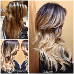 """""""(No filter) LAST CLIENT OF THE DAY!! ....I had to save this client from the crazy chunks she had in her hair. Gave her a dark brown root ombred to light…"""""""