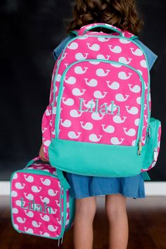 We need this in our family! The cutest pink whale backpack - with added monogram so we always know it's her! Fun for Back To school!