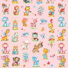 Best Baby animals pink! poodle dog duck deer giraffe donkey rabbit skunk squirl bluebird elephant teddy bear by parisbebe