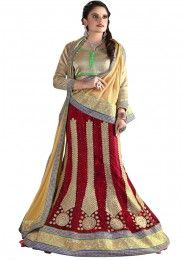 Wedding Wear Maroon Net Embroidered Work Lehenga Choli