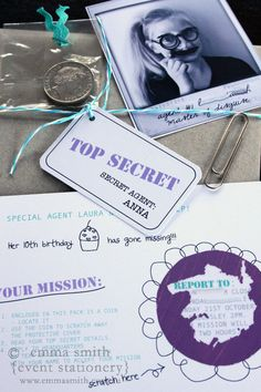 Cute little girly spy invite complete with scratch off mystery panel to reveal party details.