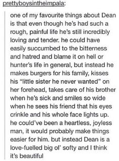This made my day, then it made me cry cause I remember that Dean is now a demon and he doesn't give a shit and is an asshole.