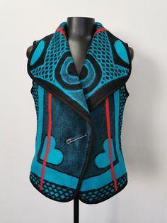 Basotho Blanket sleeveless vest Waistcoat with shawl collar fastened with the traditional blanket pin called phini Shweshwe Dresses, Body Warmer, Shawl, Vest, African, Bags, Decor, Fashion, Moda