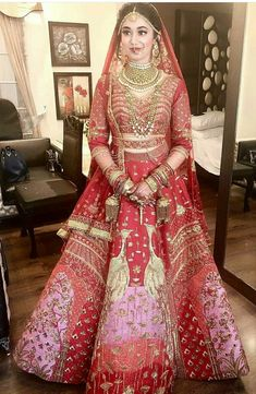 Bridal lehenga pink saree Ideas for 2019 Indian Bridal Photos, Indian Bridal Outfits, Indian Bridal Lehenga, Indian Bridal Fashion, Indian Bridal Wear, Red Lehenga, Indian Dresses, Lehenga Choli, Pink Saree