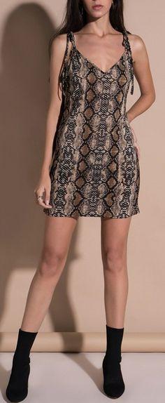 Snake Print Shoulder Tie-Up Straps Casual Dress