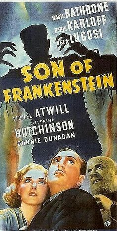 Son of Frankenstein Bela Lugosi Boris Karloff Horror movie poster Sci Fi Horror Movies, Zombie Movies, Classic Horror Movies, Horror Film, Horror Movie Posters, Movie Poster Art, Film Posters, Rock N Roll, The Modern Prometheus