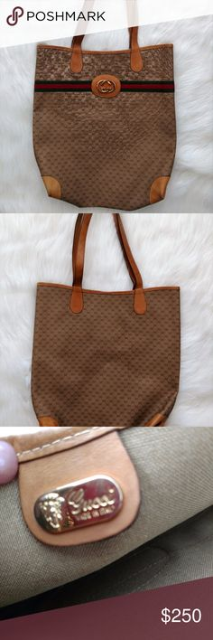 Authentic Vintage Gucci Tote This 100% vintage Gucci shopper tote has somewhat soft leather, clean interior and is in good condition with some flaws.  FLAWS: wear from use and age, corners scuffed with some staining, straps and leather patch with GG is in good condition but has staining (please see photos).  Does not come with a Gucci dust cover bag. Gucci Bags Totes