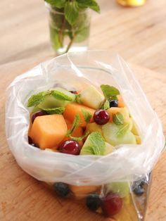 Zipper Bag Fruit Salad recipe from Ree Drummond via Food Network Episode Dorm Room Dining